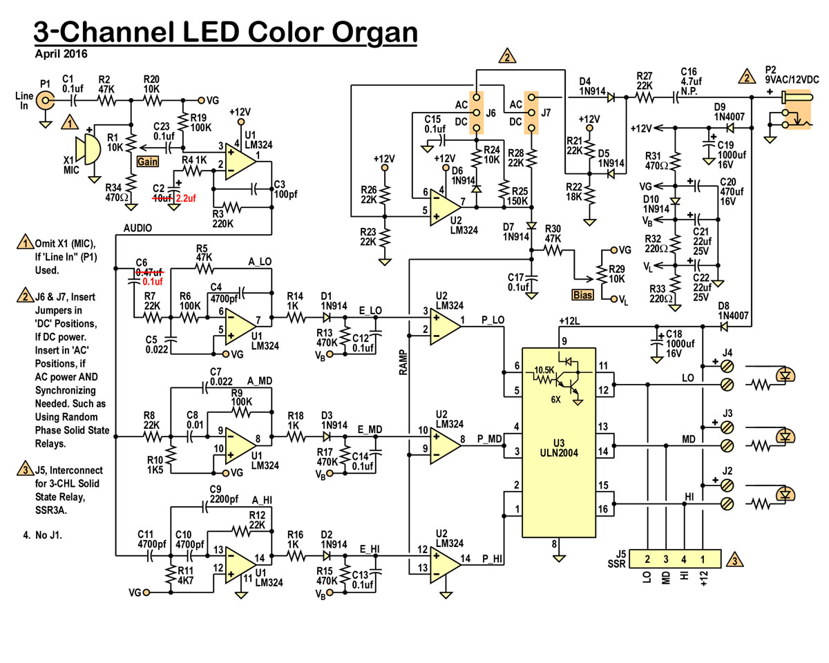 Led Color Organ 3 Chl Threeneurons Pile Opoo Mic Audio Mixer Circuit Can Enter The In Two Ways Either Thru Microphone X1 Or Connector P1 Is An Rca Phono Jack Which Common